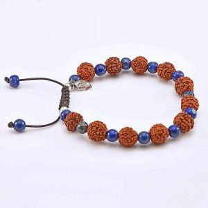 Bratara norocului Rudraksha by Cozy cu piatra semi-pretioasa, lapis lazuli
